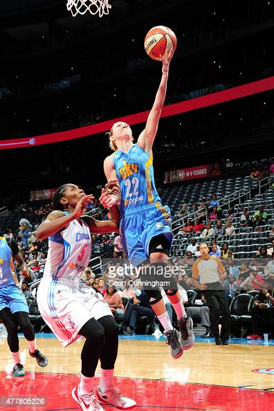 Courtney Vandersloot of the Chicago Sky goes for the layup against the Atlanta Dream during the game at Philips Center on June 19 2015 in Atlanta...