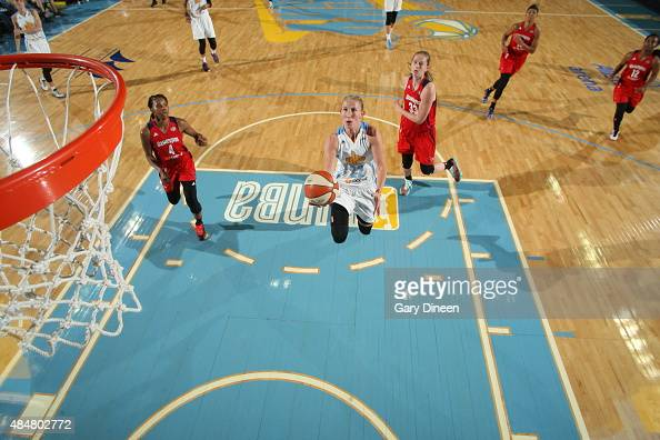 Courtney Vandersloot of the Chicago Sky goes for the layup against the Washington Mystics on August 21 2015 at Allstate Arena in Rosemont Illinois...
