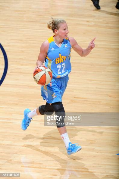 Courtney Vandersloot of the Chicago Sky handles the ball against the Atlanta Dream on June 7 2014 at Philips Arena in Atlanta Georgia NOTE TO USER...