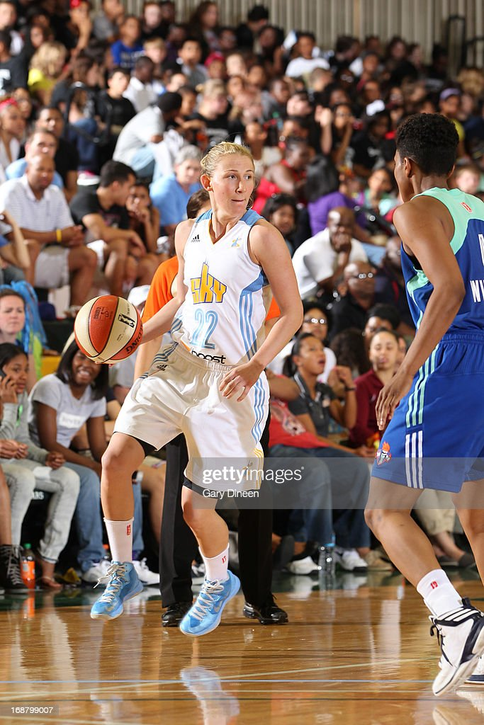 Courtney Vandersloot #22 of the Chicago Sky looks to pass against the New York Liberty during the pre-season game on May 15, 2013 at the Jacoby D. Dickens Physical Education and Athletic Center on the campus of Chicago State University in Chicago, Illinois.