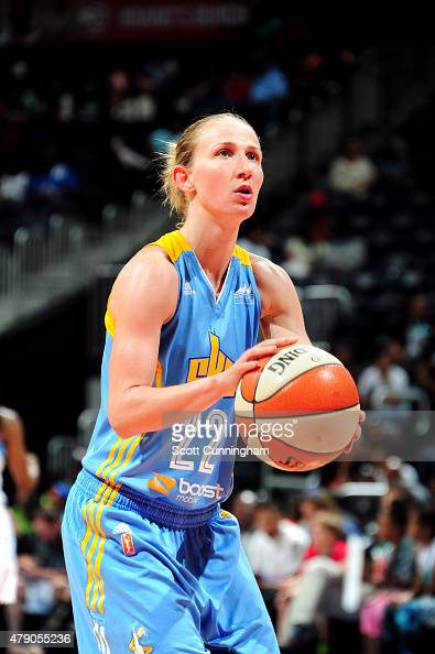 Courtney Vandersloot of the Chicago Sky prepares to shoot a free throw against the Atlanta Dream at Philips Center on June 19 2015 in Atlanta Georgia...