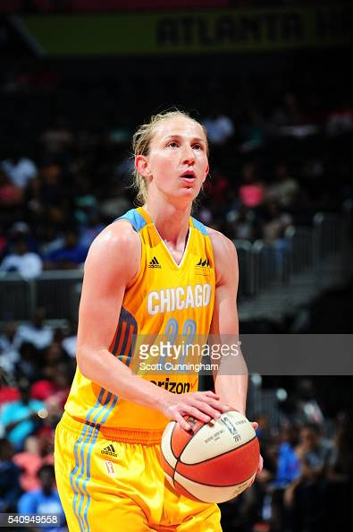Courtney Vandersloot of the Chicago Sky prepares to shoot a free throw against the Atlanta Dream on June 17 2016 at Philips Arena in Atlanta Georgia...