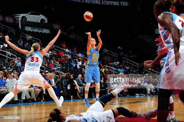 Courtney Vandersloot of the Chicago Sky puts up a shot against the Atlanta Dream at Philips Arena on August 22 2012 in Atlanta Georgia NOTE TO USER...