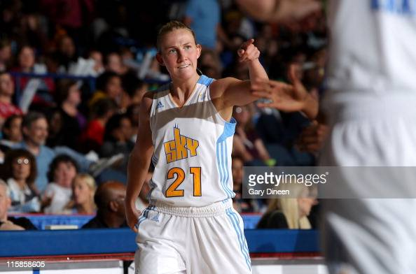 Courtney Vandersloot of the Chicago Sky reacts after sinking a shot against the Connecticut Sun during the WNBA game on June 10 2011 at the AllState...