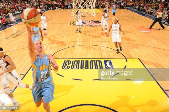 Courtney Vandersloot of the Chicago Sky scores on the Indiana Fever in game two of the WNBA Eastern Conference Semi Finals on September 22 2013 at...