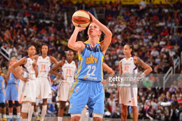 Courtney Vandersloot of the Chicago Sky shoots a free throw against the Phoenix Mercury on May 27 2013 at US Airways Center in Phoenix Arizona NOTE...