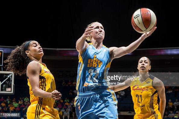 Courtney Vandersloot of the Chicago Sky shoots against Skylar Diggins and Jennifer Lacy of the Tulsa Shock during the WNBA game on June 20 2013 at...