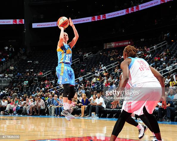 Courtney Vandersloot of the Chicago Sky shoots against the Atlanta Dream during the game at Philips Center on June 19 2015 in Atlanta Georgia NOTE TO...