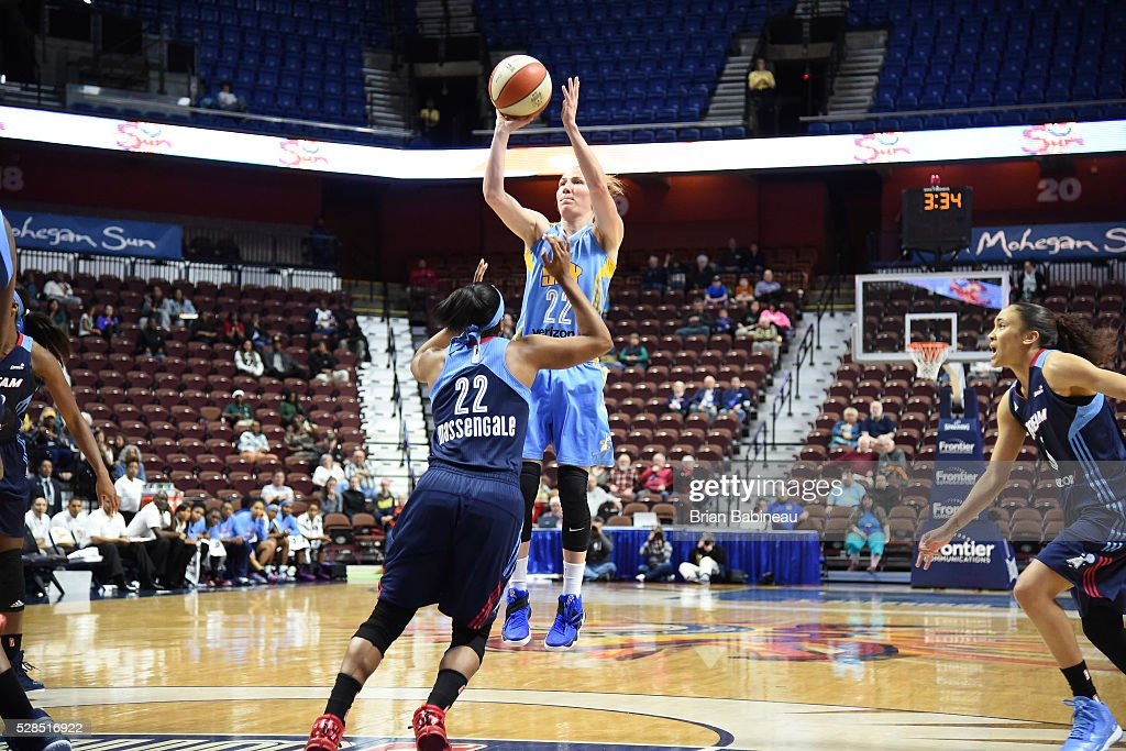 Courtney Vandersloot #22 of the Chicago Sky shoots the ball against the Atlanta Dream in a WNBA preseason game on May 5, 2016 at the Mohegan Sun Arena in Uncasville, Connecticut.
