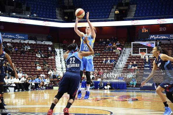 Courtney Vandersloot of the Chicago Sky shoots the ball against the Atlanta Dream in a WNBA preseason game on May 5 2016 at the Mohegan Sun Arena in...