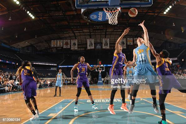 Courtney Vandersloot of the Chicago Sky shoots the ball against the Los Angeles Sparks in Game Three of the Semifinals during the 2016 WNBA Playoffs...