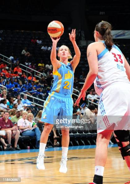 Courtney Vandersloot of the Chicago Sky shoots the ball during a game against the Atlanta Dream at Philips Arena on June 21 2011 in Atlanta Georgia...