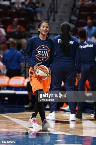 Courtney Williams of the Connecticut Sun gets introduced before the game against the Dallas Wings on August 12 2017 at Mohegan Sun Arena in...