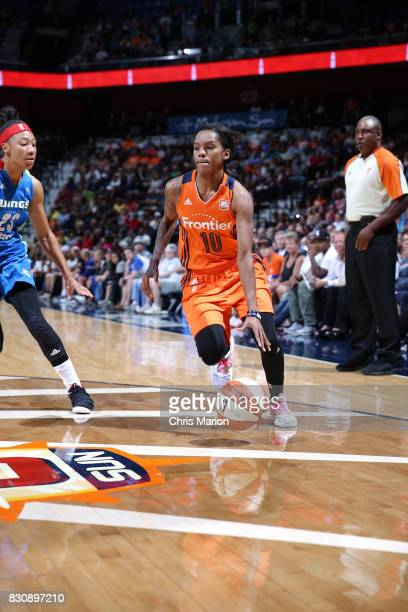 Courtney Williams of the Connecticut Sun handles the ball against the Dallas Wings on August 12 2017 at Mohegan Sun Arena in Uncasville CT NOTE TO...