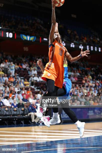 Courtney Williams of the Connecticut Sun shoots the ball against the Dallas Wings on August 12 2017 at Mohegan Sun Arena in Uncasville CT NOTE TO...