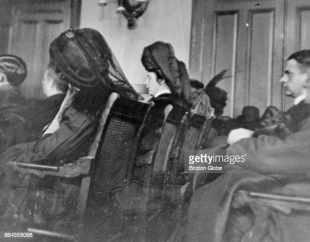 A courtroom scene from the murder trial of Harry K Thaw In New York City on Feb 5 1907 is photographed via a hidden vest camera In front row from...