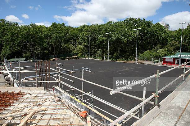 Courts four five and six are seen as construction continues to build a new tennis centre during a media announcement for the Heineken Open at ASB...