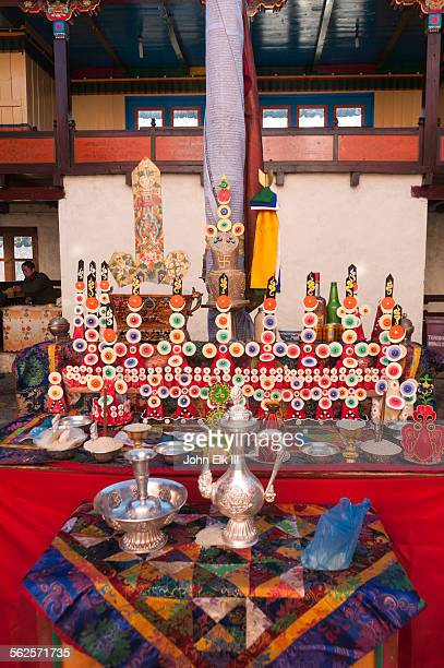Courtyard altar w torma flour and butter offerings
