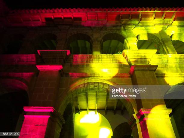 Courtyard and arches of the convent of La Merced in Cusco illuminated for the launching of the Tourism Month 2017 in Cusco organized by the Regional...