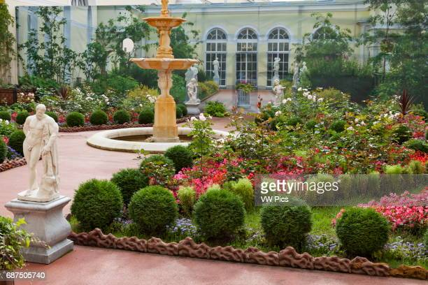 Courtyard garden outside Pavilion Hall Hermitage Museum St Petersburg Russia