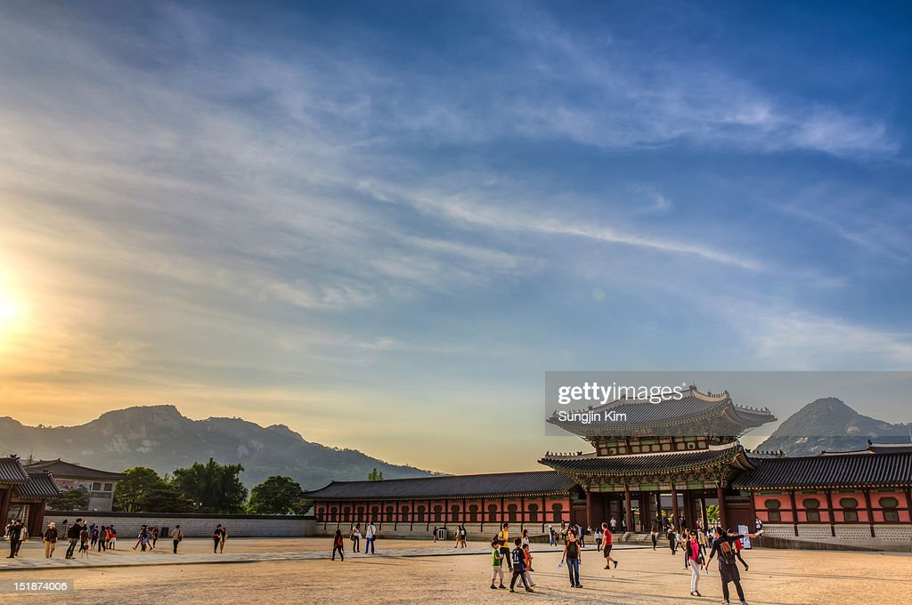 Courtyard of the royal palace : Stock Photo