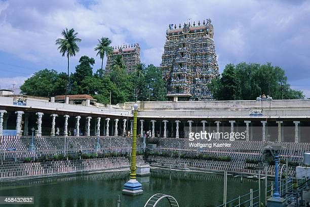 Courtyard with pool of the Meenakshi Amman Temple which is a historic Hindu temple built in 1560 and located on the southern bank of the Vaigai River...