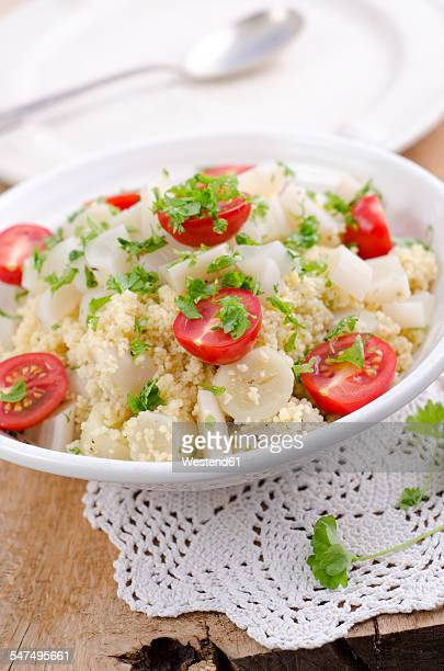 Couscous salad with salsify, cherry tomatoes and parsley