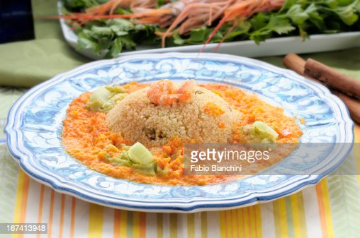 Couscous with prawns : Stock Photo