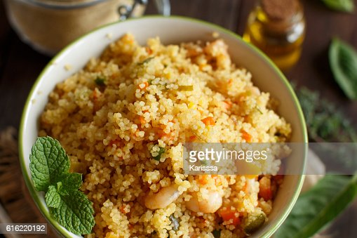 Couscous with shrimps and vegetables : Stock Photo