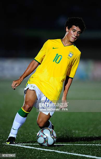 Coutinho of Brazil in action during the FIFA U17 World Cup match between Brazil and Japan at the Teslim Balogun Stadium on October 24 2009 in Lagos...