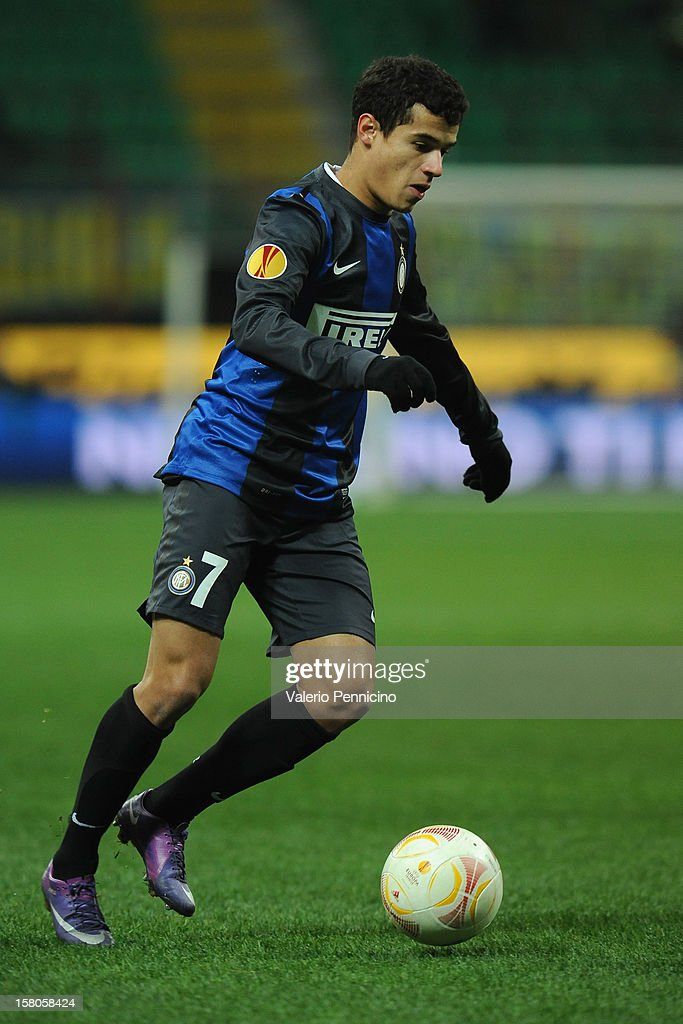 Coutinho of FC Internazionale Milano in action during the UEFA Europa League group H match between FC Internazionale Milano and Neftci PFK on December 6, 2012 in Milan, Italy.