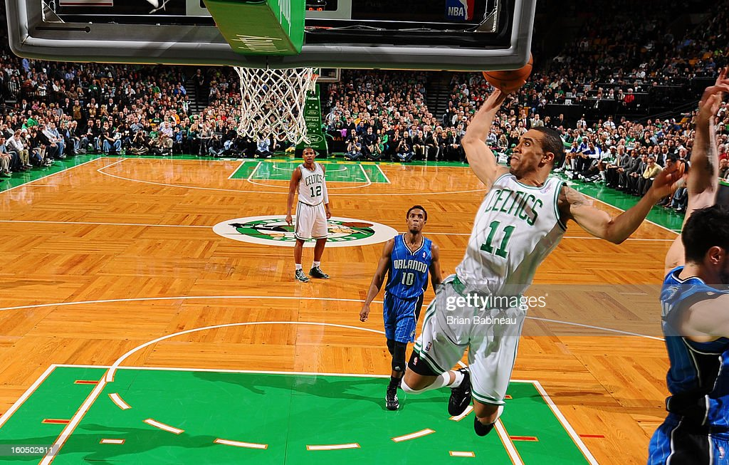Coutney Lee #11 of the Boston Celtics shoots against the Orlando Magic on February 1, 2013 at the TD Garden in Boston, Massachusetts.