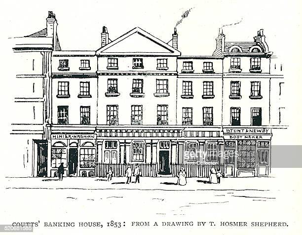 Coutts' Banking House 1853Drawing by T Hosmer ShepherdIllustration From a Line Drawing The Strand Magazine JanuaryJune 1891