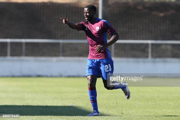 Cova da Piedade forward Ballack from Cape Verde celebrates after scoring a goal during the Segunda Liga match between CD Cova da Piedade and FC...