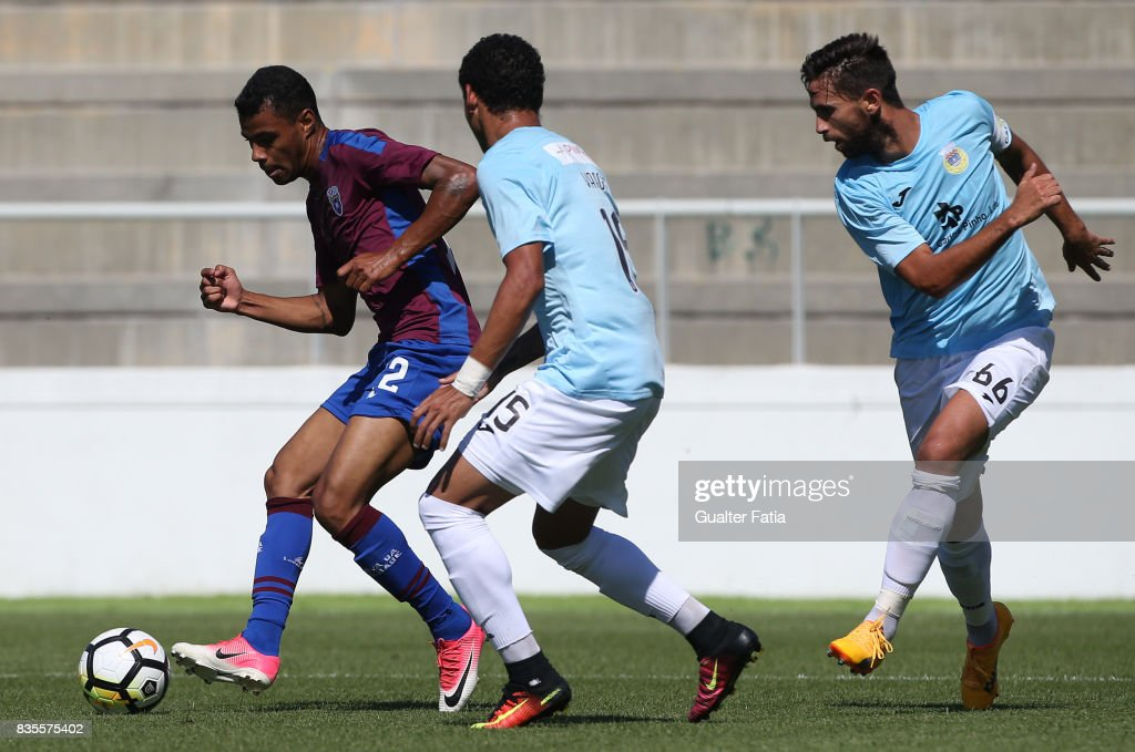 CD Cova da Piedade forward Dieguinho from Brazil with FC Arouca defender Jefre Vargas from Venezuela and FC Arouca defender Nuno Coelho from Portugal in action during the Segunda Liga match between CD Cova da Piedade and FC Arouca at Estadio Municipal Jose Martins Vieira on August 19, 2017 in Almada, Portugal.