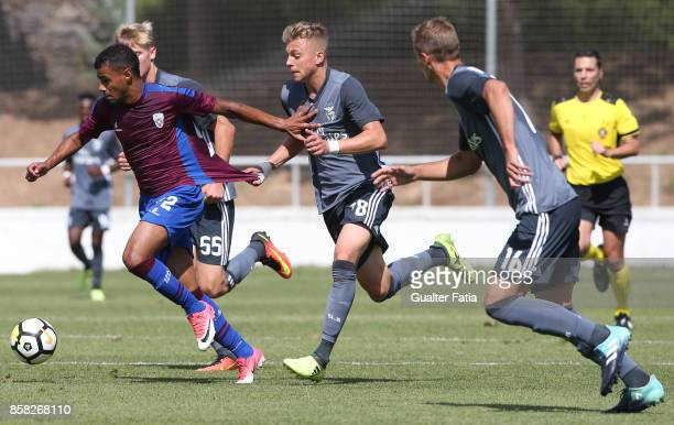 Cova da Piedade forward Dieguinho from Brazil with SL Benfica defender Alex Pinto from Portugal in action during the Segunda Liga match between CD...