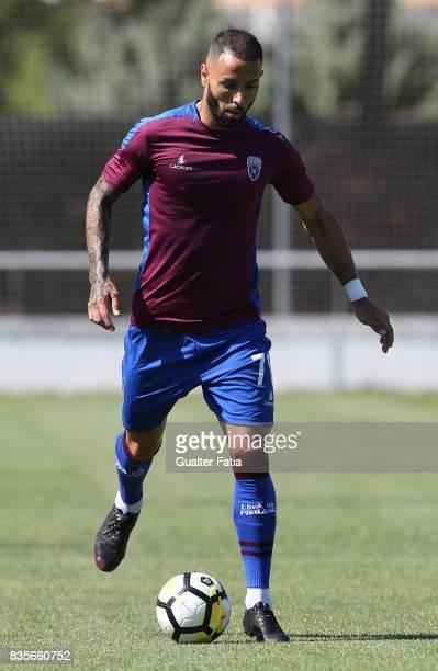 Cova da Piedade forward Hugo Firmino from Portugal in action during the Segunda Liga match between CD Cova da Piedade and FC Arouca at Estadio...