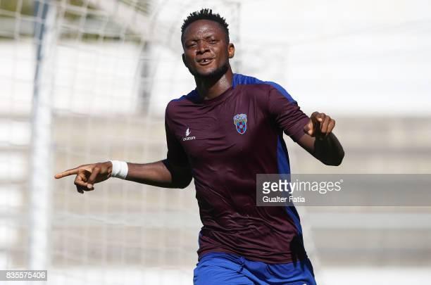 Cova da Piedade forward Ifeanyi Onyilo from Nigeria celebrates after scoring a goal during the Segunda Liga match between CD Cova da Piedade and FC...