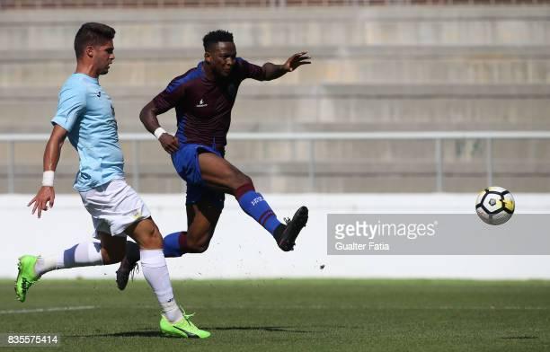 Cova da Piedade forward Ifeanyi Onyilo from Nigeria scores goal during the Segunda Liga match between CD Cova da Piedade and FC Arouca at Estadio...