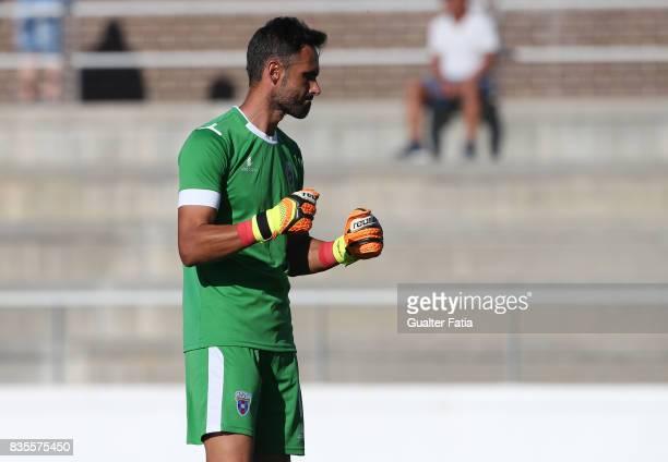 Cova da Piedade goalkeeper Pedro Alves from Portugal celebrates the victory at the end of the Segunda Liga match between CD Cova da Piedade and FC...