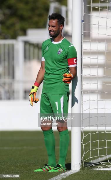 Cova da Piedade goalkeeper Pedro Alves from Portugal in action during the Segunda Liga match between CD Cova da Piedade and FC Arouca at Estadio...