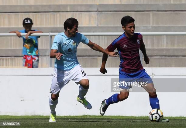 Cova da Piedade midfielder Robson from Brazil with FC Arouca midfielder Aleks Palocevic from Serbia in action during the Segunda Liga match between...
