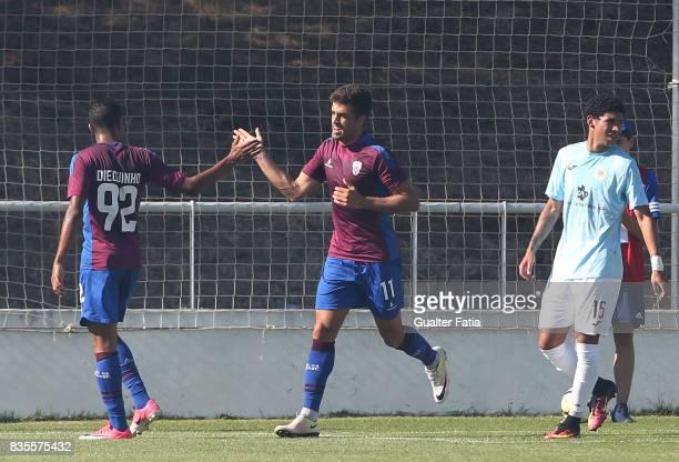 Cova da Piedade midfielder Thiago Freitas from Brazil celebrates with teammate CD Cova da Piedade forward Dieguinho from Brazil after scoring a goal...