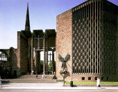 Coventry Cathedral West Midlands with the sculpture of St Michael 1989 Grade 1 listed cathedral designed by Basil Spence 195162