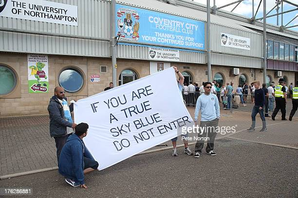 Coventry City fans protest prior to the Sky Bet League One match between Coventry City and Bristol City at Sixfields Stadium on August 11 2013 in...