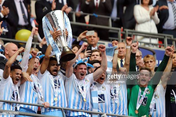 Coventry City lift the trophy to celebrate winning the EFL Checkatrade Trophy Final between Coventry City v Oxford United at Wembley Stadium on April...
