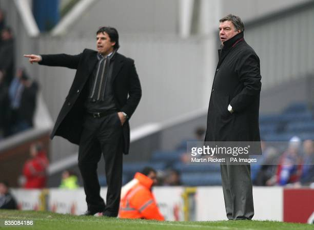 Coventry City manager Chris Coleman and Blackburn Rovers manager Sam Allardyce watch the action from the touchline