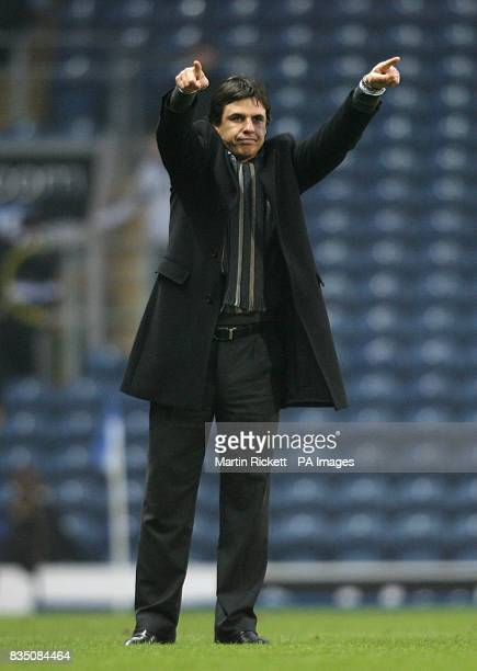 Coventry City manager Chris Coleman points to the away fans after the final whistle