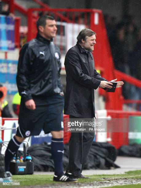 Coventry City manager Steve Pressley gestures on the touchline