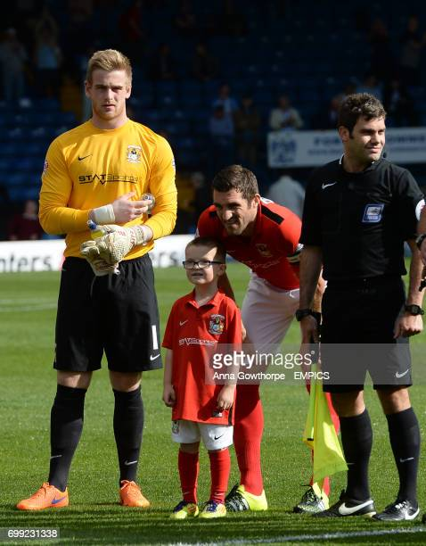 Coventry City mascot Hayden McCauley celebrates his seventh birthday